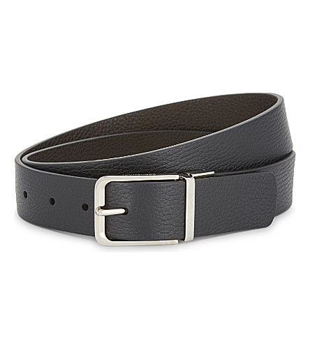 CORNELIANI Reversible grained leather belt (Black/brown