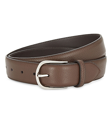 CORNELIANI Grained leather belt (Tan