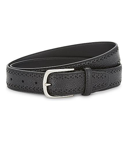 CORNELIANI Crocodile-embossed leather belt (Black