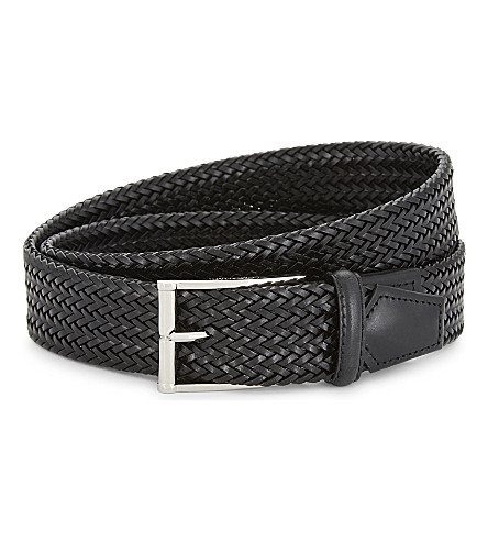 CORNELIANI Plaited leather belt (Black