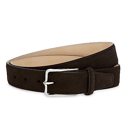 CORNELIANI Suede leather belt (Brown