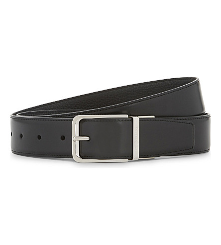 CORNELIANI Reversible leather belt (Black/black
