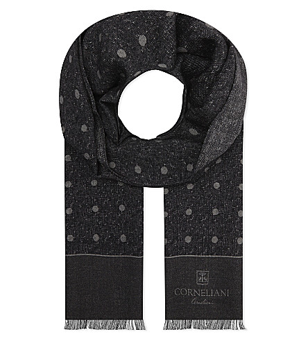 CORNELIANI Polka dot wool scarf (Grey