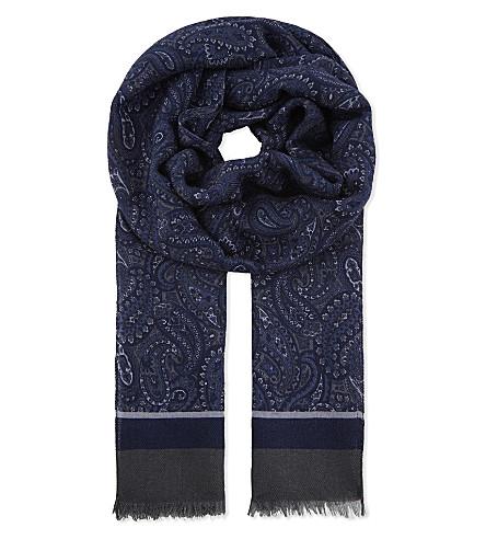 CORNELIANI Paisley wool and silk-blend scarf (Blue