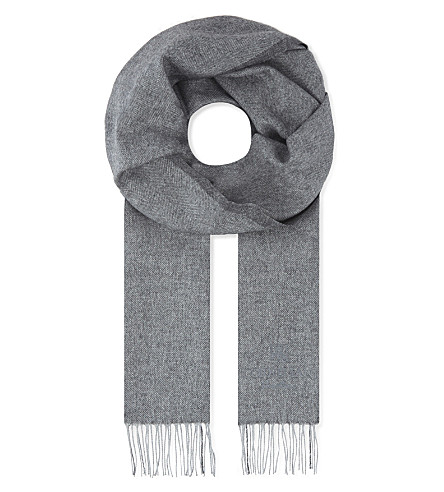 CORNELIANI Herringbone silk and cashmere-blend scarf (Grey