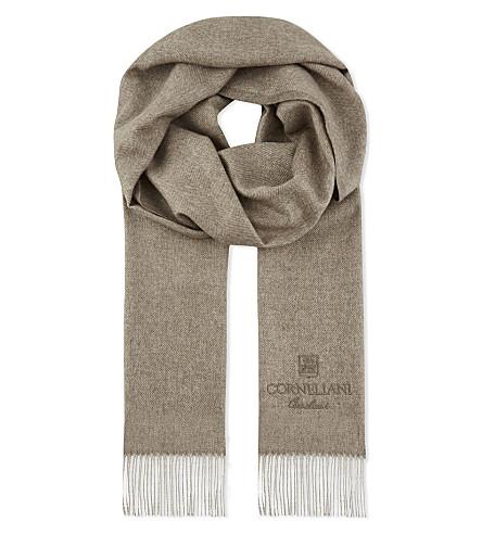 CORNELIANI Herringbone silk and cashmere-blend scarf (Navy