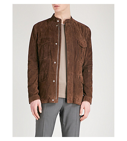 CORNELIANI Stand-collar suede jacket (Brown
