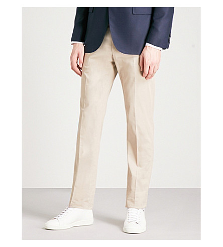 CORNELIANI Tailored-fit straight stretch-cotton and cashmere-blend trousers (Beige