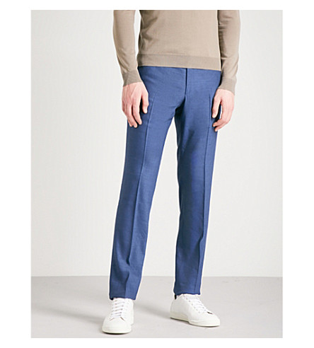 CORNELIANI Tailored-fit straight linen and wool-blend trousers (Blue