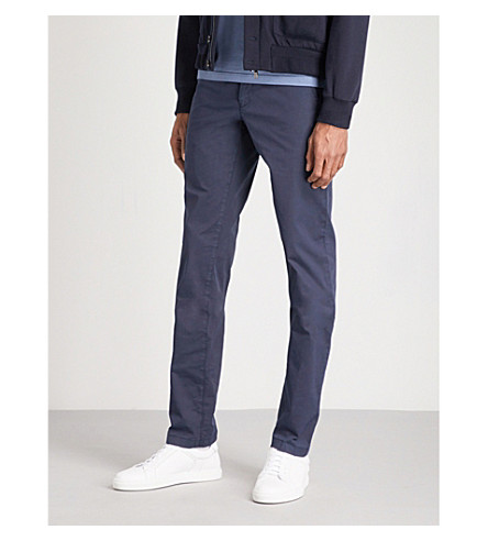 CORNELIANI Regular-fit stretch-cotton chinos (Navy