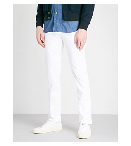 CORNELIANI Slim-fit tapered low-rise jeans (White