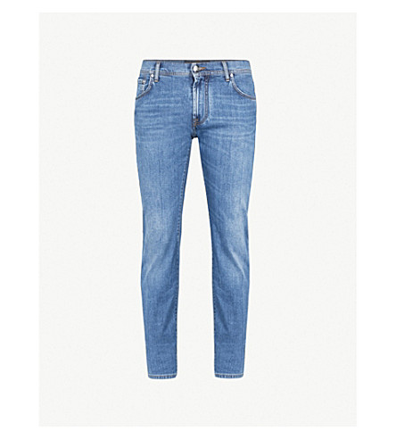 CORNELIANI Contrast stitch regular-fit straight jeans (Light+wash
