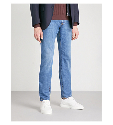 CORNELIANI Contrast stitch regular-fit straight jeans (Light+wash