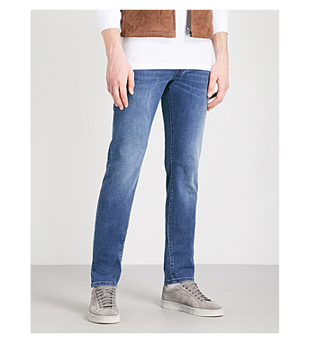 CORNELIANI Slim-fit tapered low-rise jeans (Med+wash