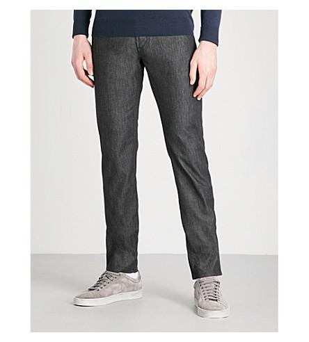 CORNELIANI Slim-fit tapered low-rise jeans (Black