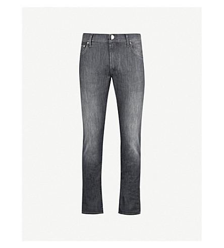 CORNELIANI Slim-fit tapered low-rise jeans (Grey