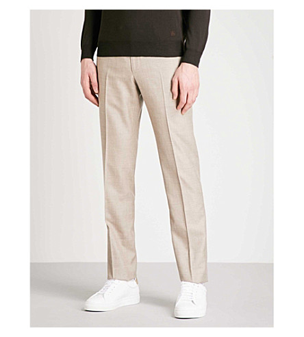 CORNELIANI Tailored-fit straight wool, silk and flax-blend trousers (Beige