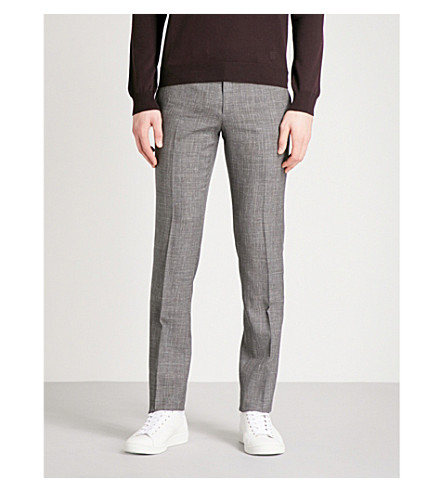 CORNELIANI Checked tailored-fit wool and silk-blend trousers (Brown