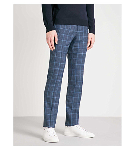CORNELIANI Checked tailored-fit wool and silk-blend trousers (Blue