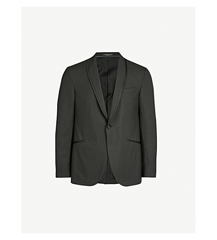 CORNELIANI Diamond-patterned tailored-fit wool and silk-blend tuxedo jacket (Black