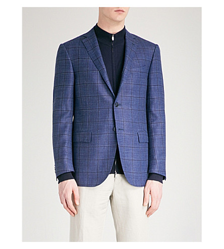 CORNELIANI Checked academy tailored-fit wool, silk and linen-blend jacket (Blue