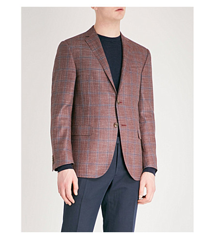 CORNELIANI Checked academy tailored-fit wool, silk and linen-blend jacket (Red