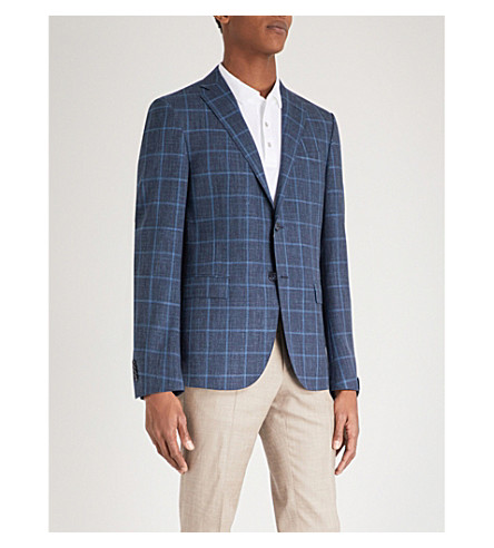 CORNELIANI Checked regular-fit wool, silk and linen-blend jacket (Blue