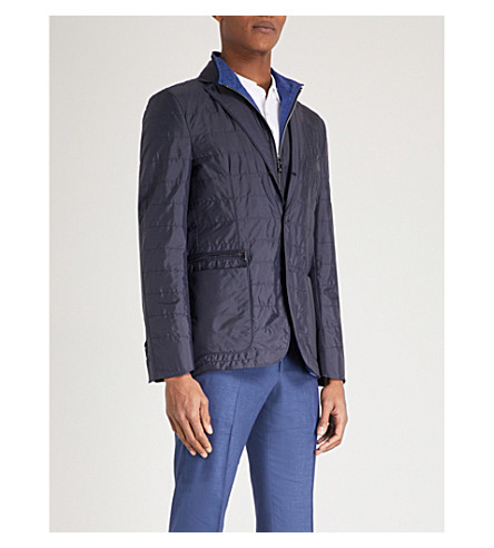 CORNELIANI Detachable-collar shell jacket (Navy