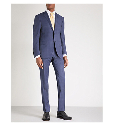 CORNELIANI Regular-fit checked wool suit (Blue