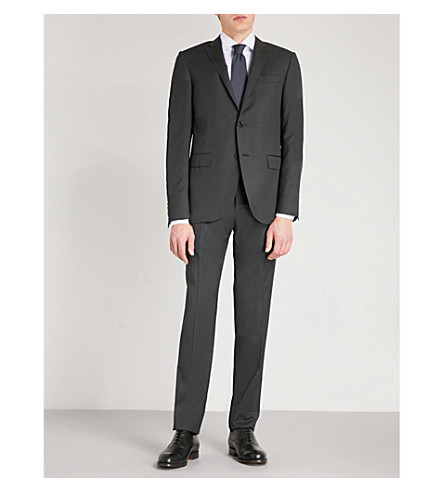 CORNELIANI Pinhead academy-fit wool suit (Charcoal