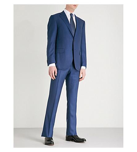 CORNELIANI Birdseye-print leader-fit wool suit (Blue