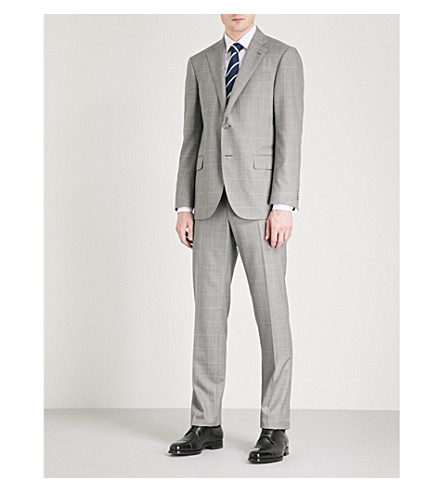 CORNELIANI Checked leader-fit wool suit (Grey