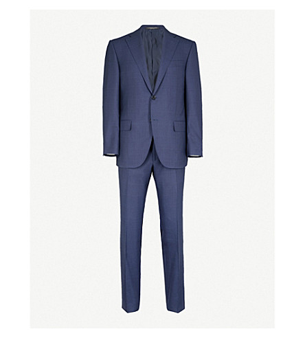 CORNELIANI Super 180's checked leader-fit wool suit (Blue