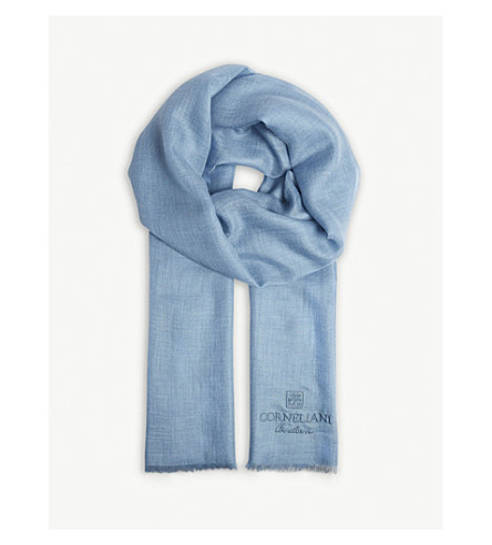 CORNELIANI Cashmere-cotton blend logo scarf (Blue