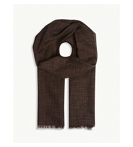 CORNELIANI Check pattern silk and cashmere scarf (Brown