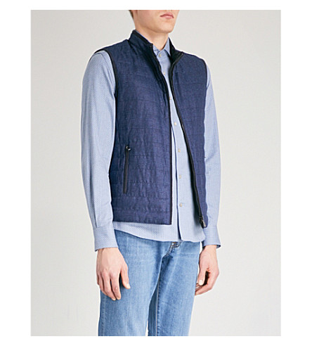 CORNELIANI ID checked reversible silk gilet (Blue