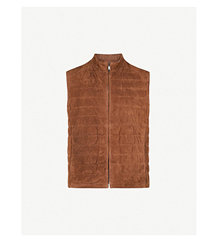 CORNELIANI Stand-collar suede, silk, cashmere and linen-blend gilet (Brown