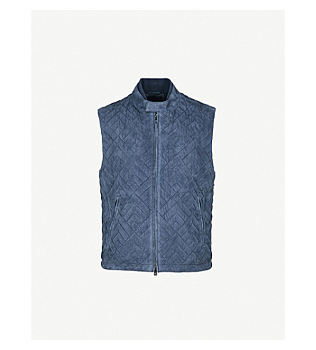CORNELIANI Quilted suede gilet (Blue