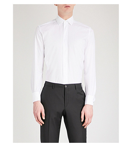 CORNELIANI Tailored-fit cotton shirt (White
