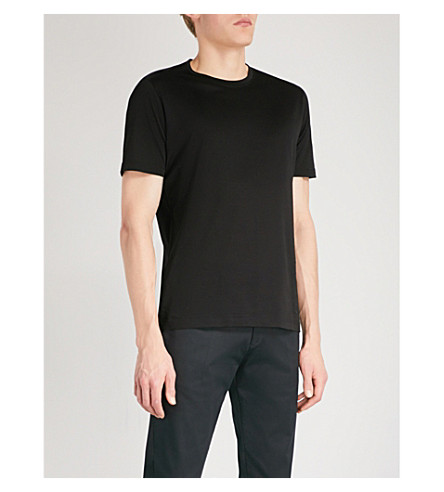 CORNELIANI Logo-embroidered cotton-jersey T-shirt (Black