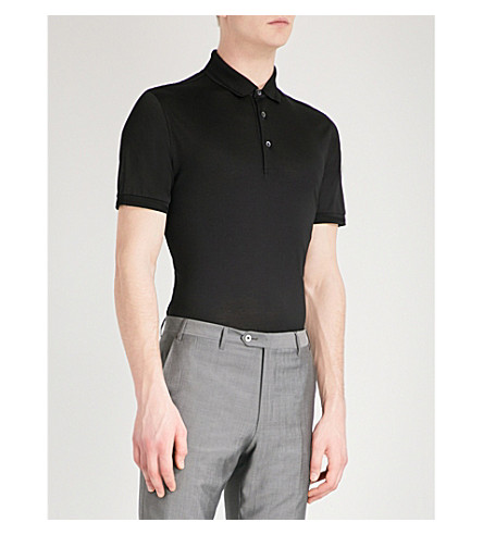 CORNELIANI Slim-fit cotton-jersey polo shirt (Black