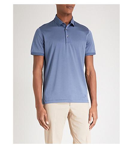 CORNELIANI Slim-fit cotton-jersey polo shirt (Light+blue