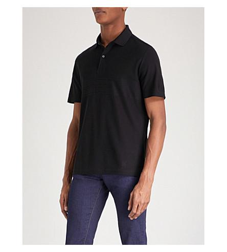 CORNELIANI Striped-detail cotton-jersey polo shirt (Black