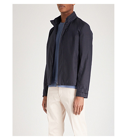 CORNELIANI Stand-collar shell bomber jacket (Navy