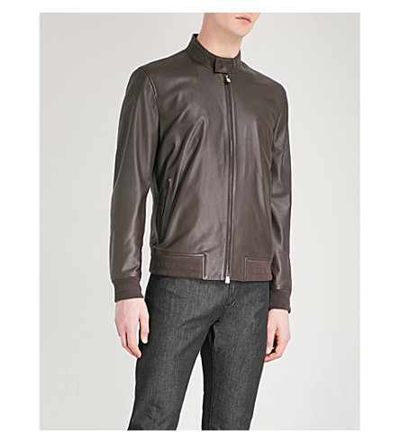 CORNELIANI ID leather bomber jacket (Burgundy