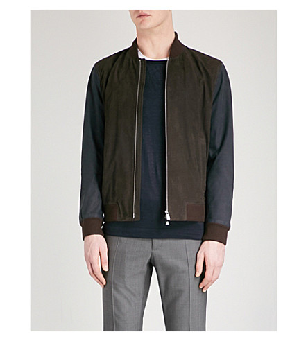 CORNELIANI Panelled suede bomber jacket (Blue
