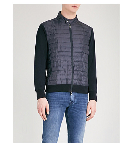 CORNELIANI Quilted shell and cotton-knitted hooded jacket (Navy