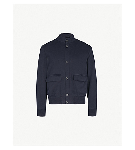 CORNELIANI Ribbed-trim stretch-cotton jacket (Navy