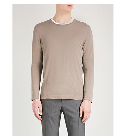CORNELIANI Logo-embroidered wool jumper (Beige