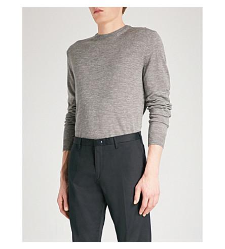 CORNELIANI Melange wool silk and linen-blend jumper (Light+grey